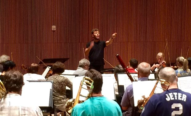 Pablo Heras-Casado conducts a rehearsal of the Orchestra of St. Luke's (Brian Wise/WQXR)