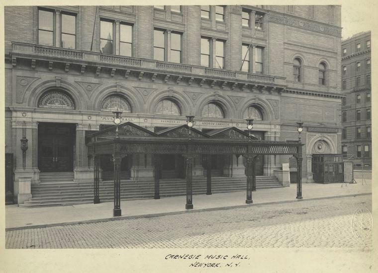 Carnegie Music Hall, in 1908. New York Public Library Digital Collections