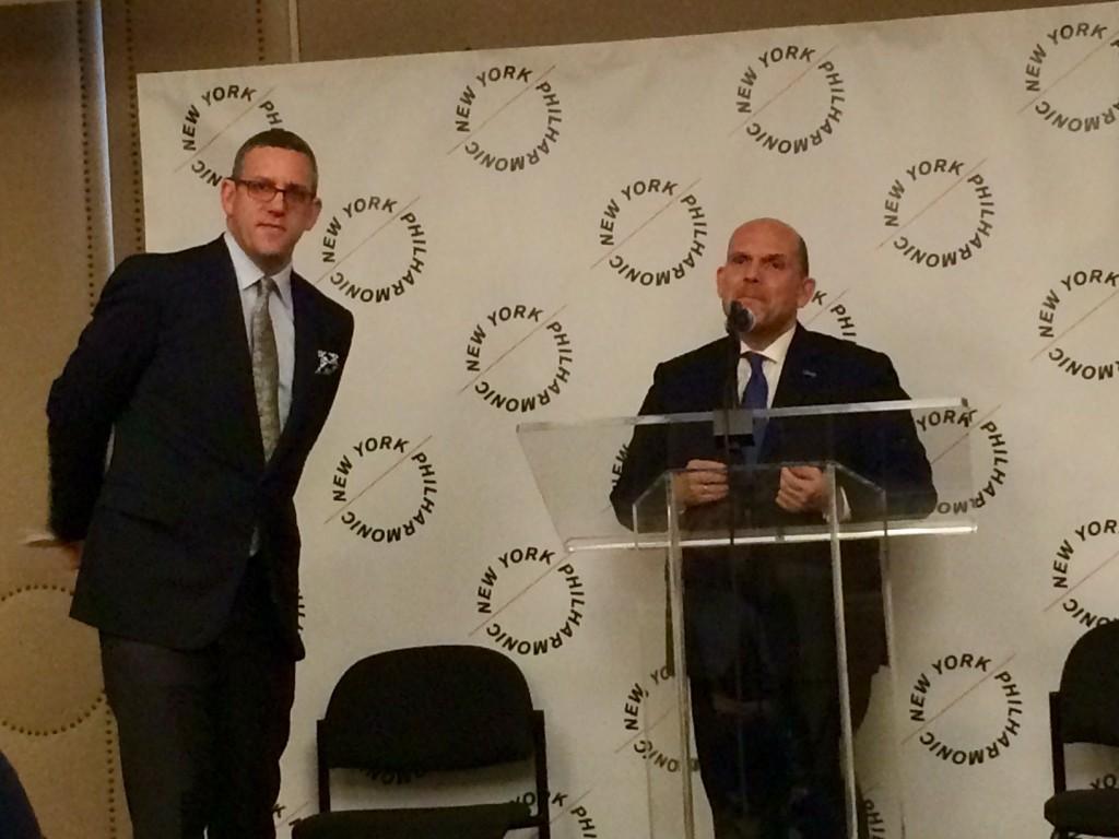Conductor Jaap van Zweden (R) and executive director Matthew VanBesien (L) at a press conference on Jan. 27, 2015