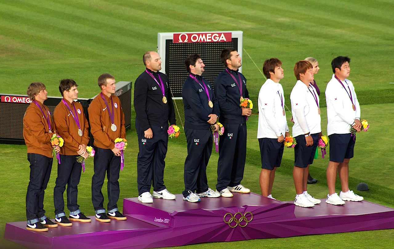 Medalists from the U.S., Italy and Korea at the Team Archery Final on Day 1 of the London 2012 Olympic Games (Wikipedia Commons)
