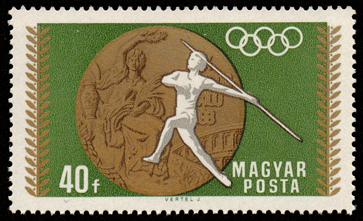 A 1950 stamp with a javelin thrower (wikipedia commons)