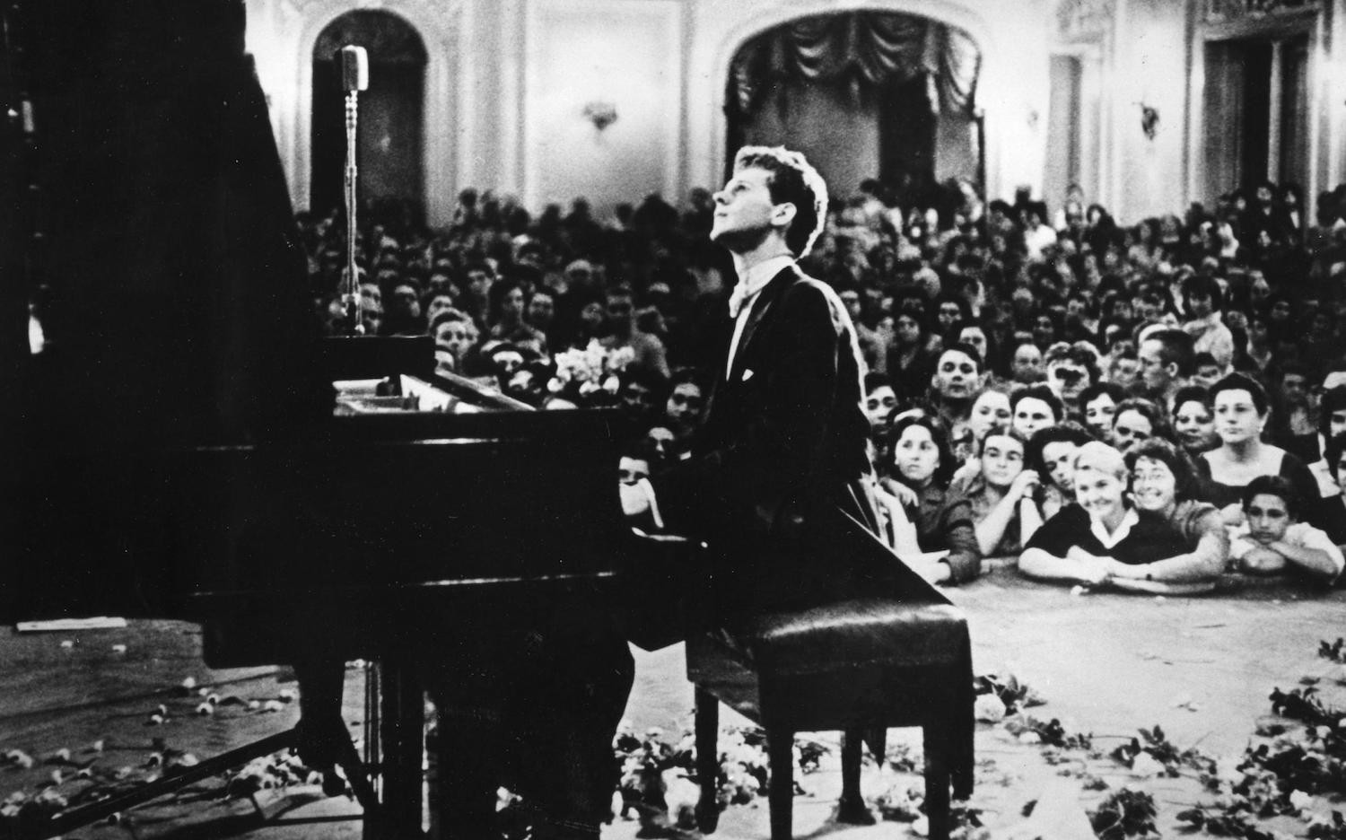 Van Cliburn at the Tchaikovsky Competition in Moscow, 1958.
