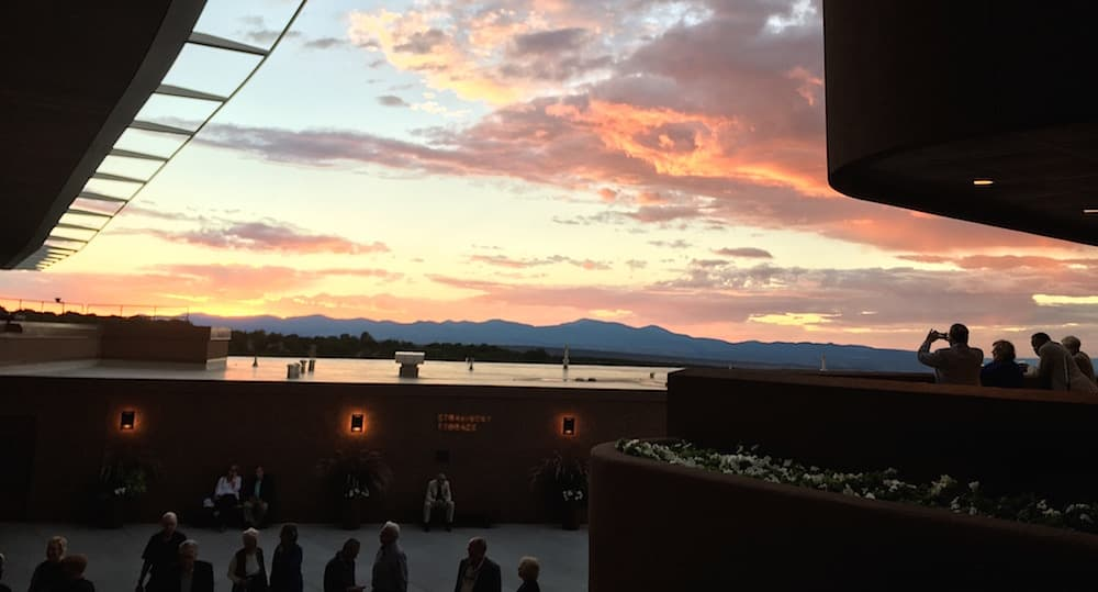 The sun sets over Santa Fe Opera on Aug. 25, 2017 (Photo: Brian Wise).