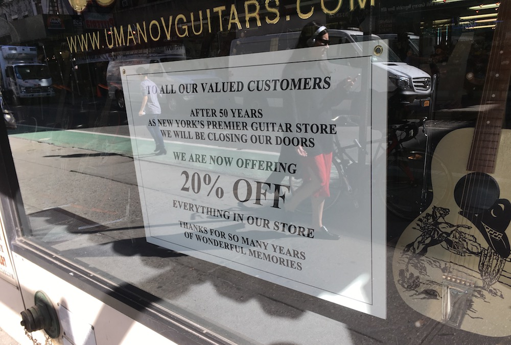 Matt Umanov Guitars, a store in Greenwich Village, closed in December after five decades (photo: Brian Wise)