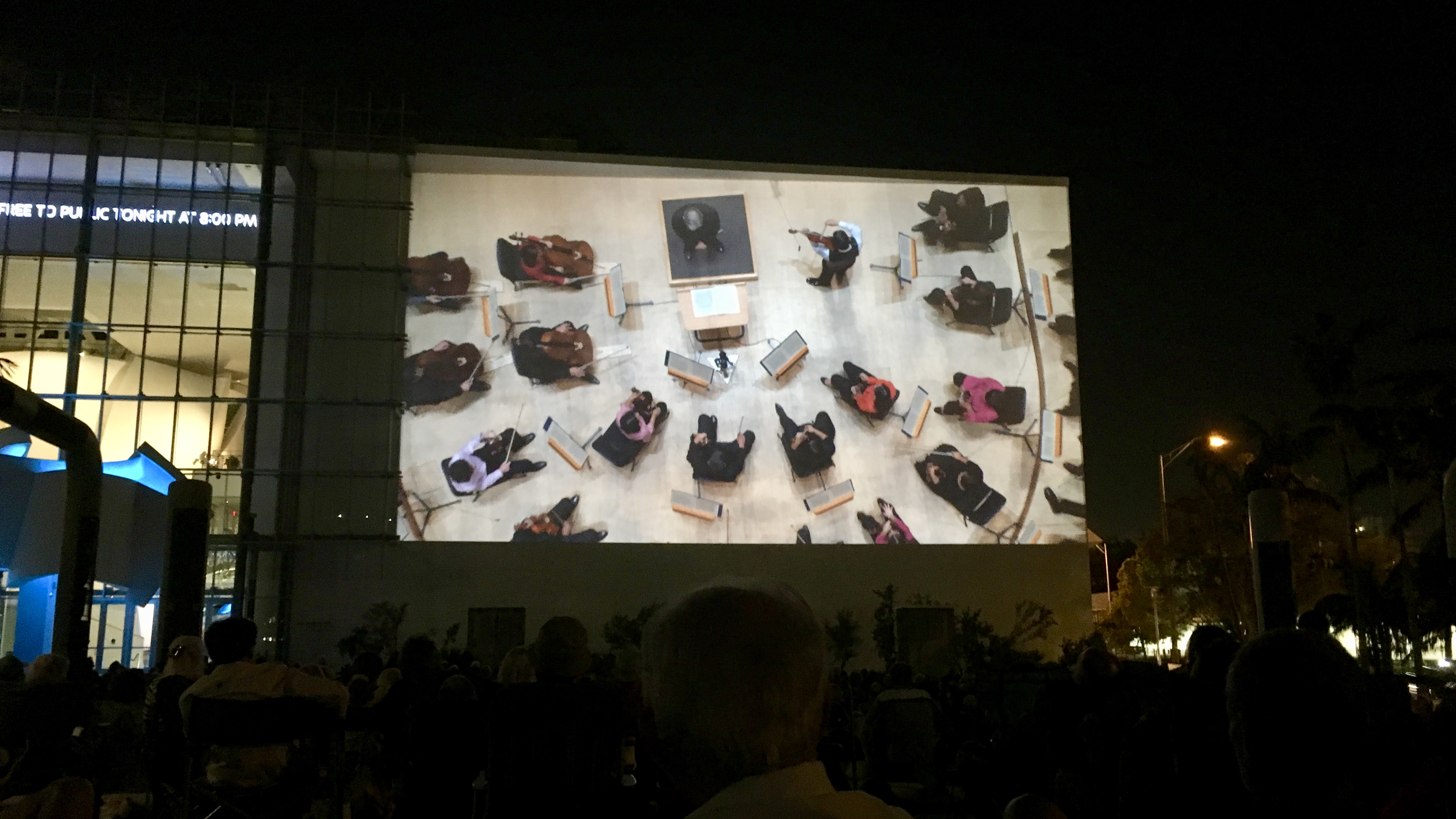An overhead shot as seen on the Wallcast of a New World Symphony concert.