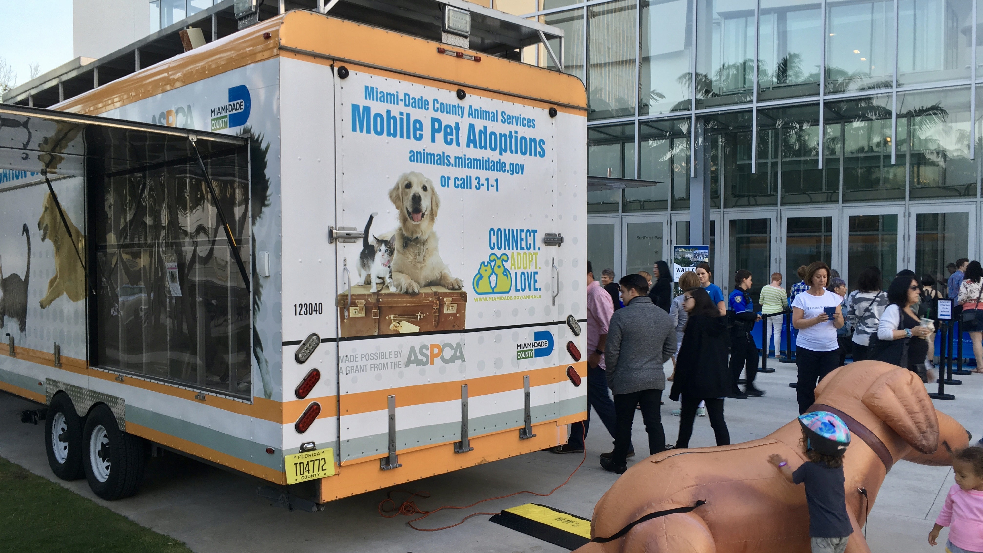 A pet adoption drive outside the New World Symphony concert in Miami, FL.