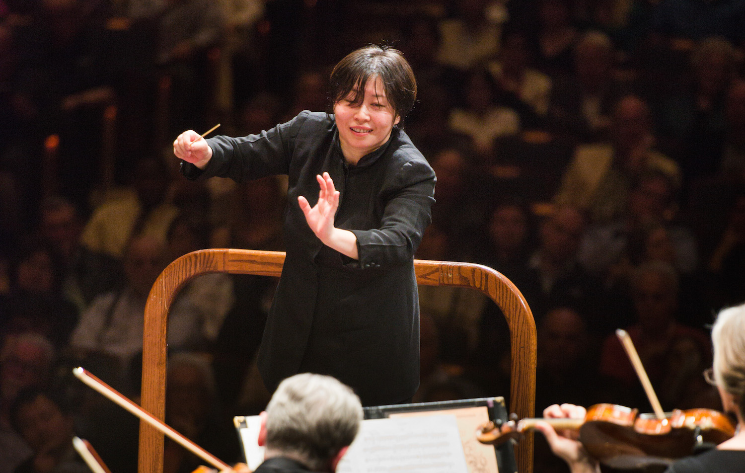Xian Zhang with the NJSO - May 2015 (credit Fred Stucker)