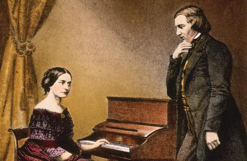 Clara Schumann worked when women composers were rarely heard. Pictured with Robert Schumann.