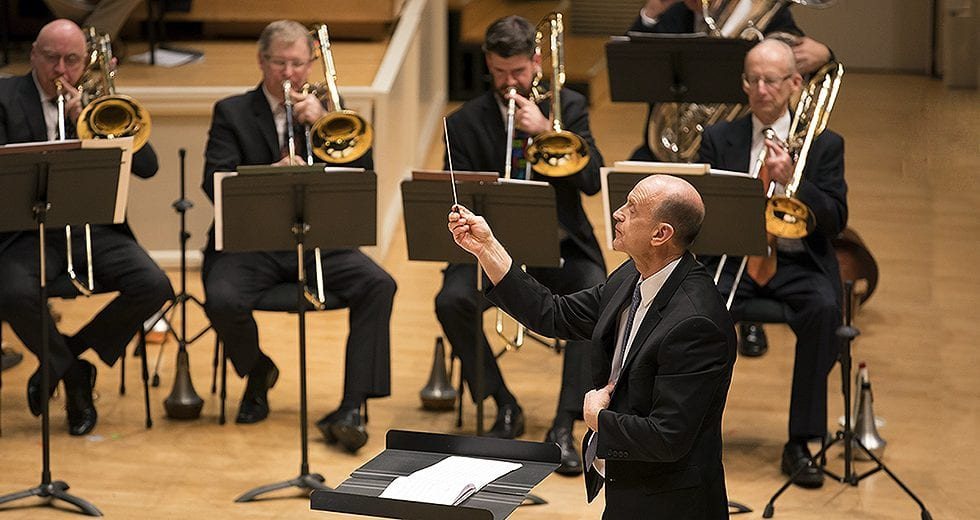 Michael Mulcahy leads his fellow section members in the annual holiday concert by the CSO Brass. | ©Todd Rosenberg Photography 2017